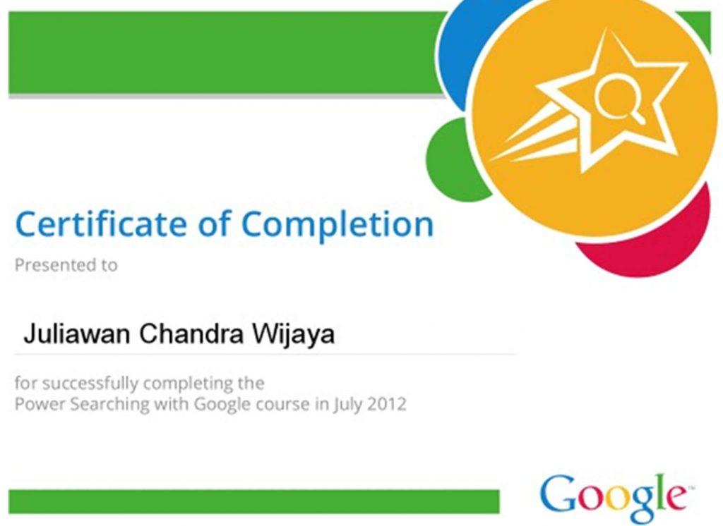 Certificate Power of Searching Juliawan Chandra Wijaya July 2012