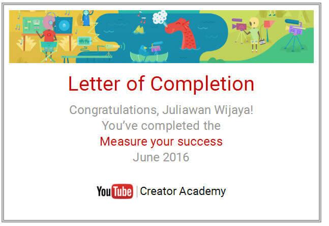 Letter Of Completion Measure Success Juliawan Chandra Wijaya