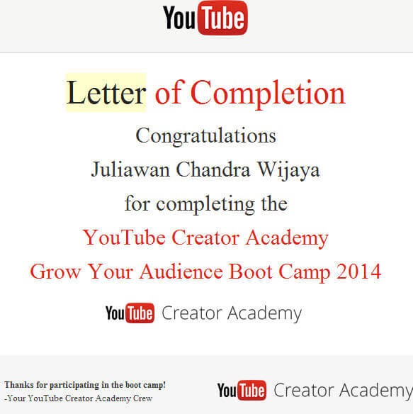 Letter Of Completion Youtube Creator Academy Bootcamp 2014